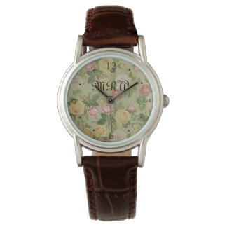 Vintage Country Weathered Floral Monogrammed Wrist Watches
