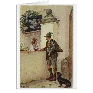 Vintage Couple Flirting Over a Garden Wall, Card