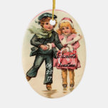 Vintage Couple Ice Skating & Holding Hands Christmas Ornament
