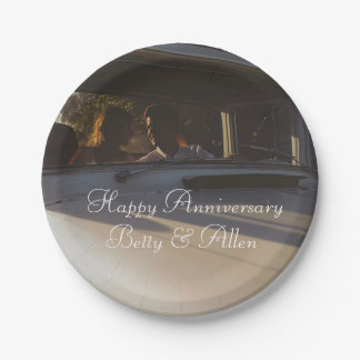 Vintage Couple in Car Anniversary Cake Paper Plate