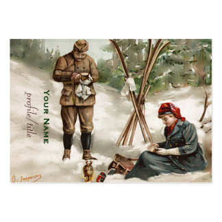 vintage  couple on a ski tour large business cards (Pack of 100)