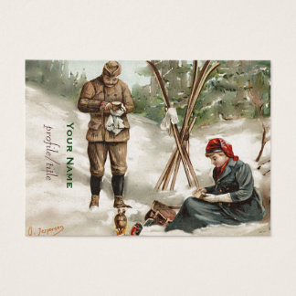 vintage  couple on a ski tour business card
