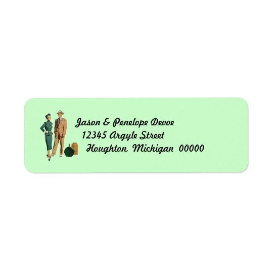 Vintage Couple on Vacation Return Address Labels