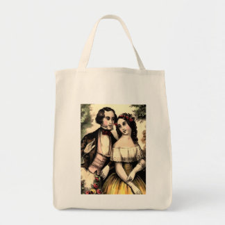 Vintage Couple Valentine Organic Grocery Tote Grocery Tote Bag