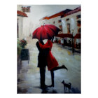 Vintage Couple with Umbrella and Dog Print