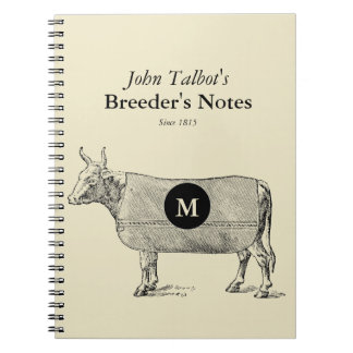 Vintage Cow Blanket Monogram Breeders Notebook