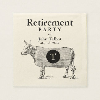 VINTAGE Cow Blanket Retirement P Napkin Monogram Paper Napkins