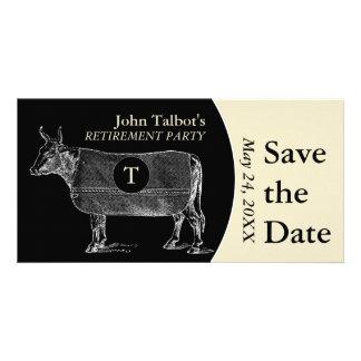 Vintage Cow Retirement B Save the Date Monogram Custom Photo Card