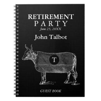 VINTAGE Cow Retirement Black Guest Book Monogram