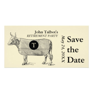 Vintage Cow Retirement Save the Date Monogram Picture Card