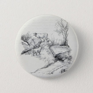 Vintage Cow Sheep in Field Stream Meadow Print 2 Inch Round Button