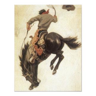 Vintage Cowboy Bucking Bronco Horse Invitation