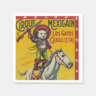 Vintage Cowboy Cat Mexican Circus Poster Disposable Napkin