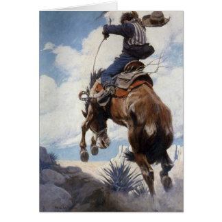 Vintage Cowboy Christmas, Bucking by NC Wyeth Card