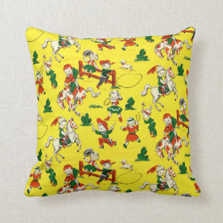 Vintage Cowboy - Cowgirls - Horses - Western Ranch Throw Pillow