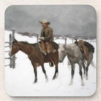 Vintage Cowboy on Horseback at the Ranch Coaster