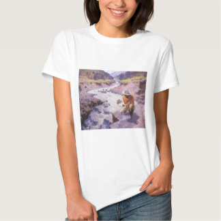 Vintage Cowboy, Panning Gold, Wyoming by Leigh Tshirts