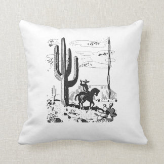 Vintage Cowboy Western Scene Pillow