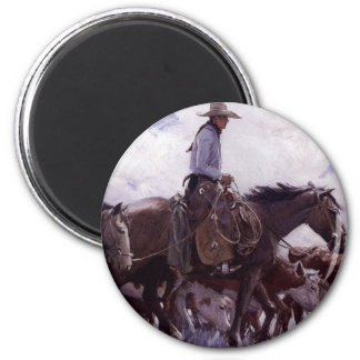 Vintage Cowboy with His Herd of Cattle by Koerner 2 Inch Round Magnet