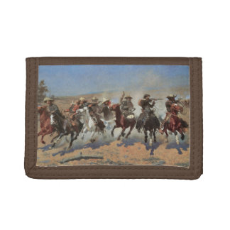 Vintage Cowboys, A Dash For Timber by Remington Tri-fold Wallet