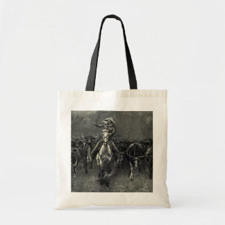 Vintage Cowboys, A Stampede by Frederic Remington Budget Tote Bag