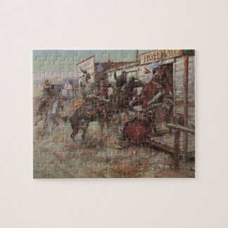 Vintage Cowboys, In Without Knocking by CM Russell Jigsaw Puzzle