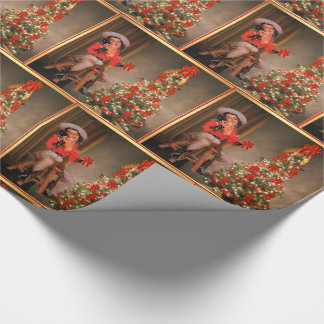Vintage Cowgirl and Christmas Tree Holiday Wrapping Paper