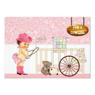 Vintage Cowgirl Baby Shower Invitation