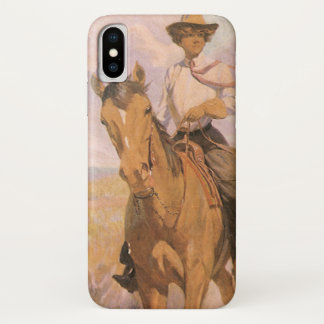 Vintage Cowgirl Cowboy, Woman on Horse by Dunton iPhone X Case