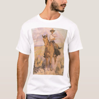 Vintage Cowgirl Cowboy, Woman on Horse by Dunton T-Shirt