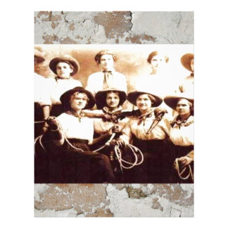 Vintage Cowgirl Group Photo Western Rodeo Letterhead