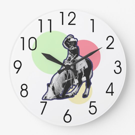 Vintage Cowgirl Large Clock