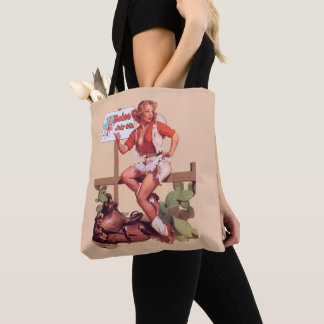 Vintage Cowgirl On Fence with Rodeo Sign Tote Bag