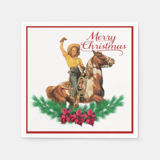 Vintage Cowgirl On Horse Merry Christmas Napkins Disposable Napkins