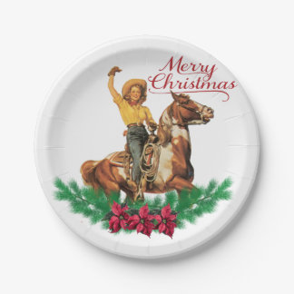 Vintage Cowgirl On Horse Merry Christmas Paper Plate