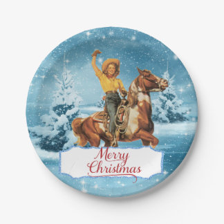 Vintage Cowgirl On Horse Winter Merry Christmas Paper Plate