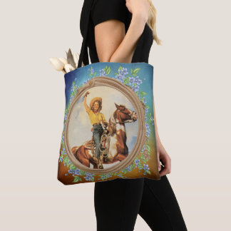 Vintage Cowgirl On Horse with Lariat Rope  Flowers Tote Bag