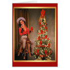 Vintage Cowgirl On Saddle With Christmas Tree Card