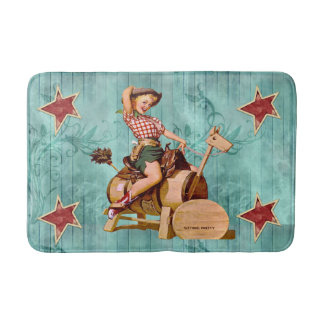Vintage Cowgirl On Wooden Horse Western Bath Mat