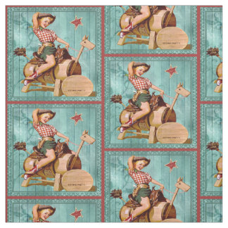 Vintage Cowgirl On Wooden Horse Western Fabric