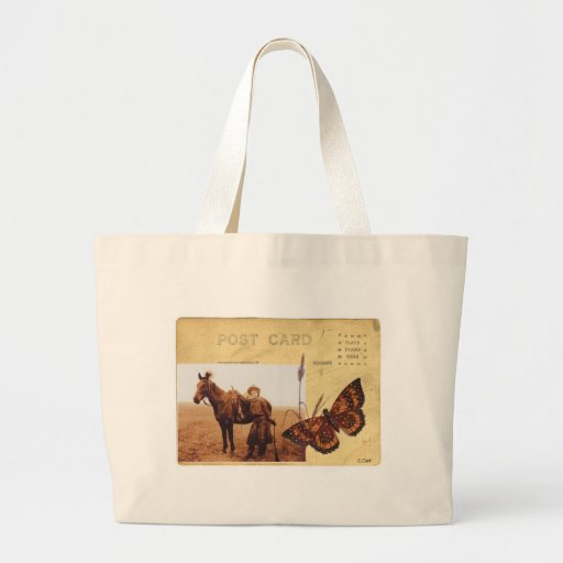 Vintage Cowgirl Photo Horse Butterfly Postcard Tote Bags