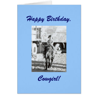Vintage Cowgirl & Pony Birthday Wishes Card