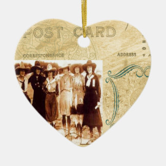 Vintage Cowgirl Post Card Western Group Photograph Ceramic Ornament