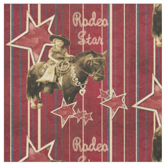 Vintage Cowgirl Rodeo Star Western Fabric