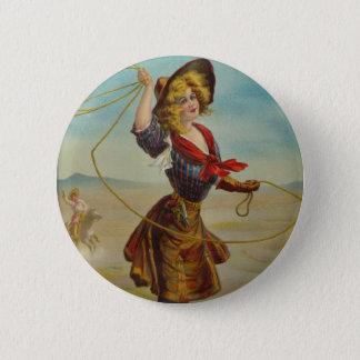 Vintage Cowgirl Western Cowboy Illustration Art 2 Inch Round Button