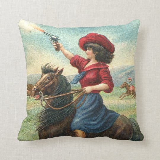 "Vintage Cowgirl ""Whoop It Up"" Pillow"