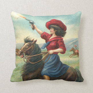 """Vintage Cowgirl """"Whoop It Up"""" Pillow"""