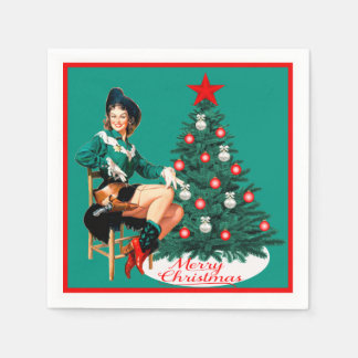 Vintage Cowgirl With Christmas Tree Merry Christma Paper Napkin