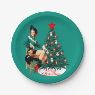 Vintage Cowgirl With Christmas Tree Merry Christma Paper Plate