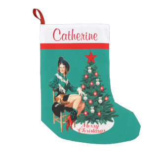 Vintage Cowgirl With Christmas Tree Merry Christma Small Christmas Stocking